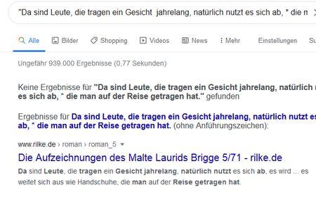 Screenshot Google-Suche als verweigerte Phresensuche mti Trunkierung, Rilke-Text