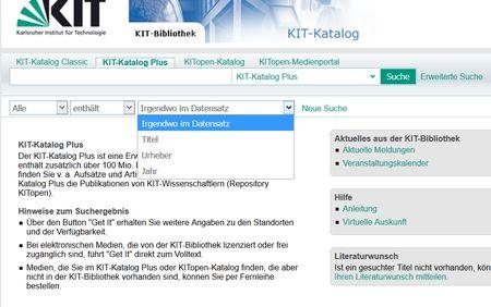 Screenshot der einfachen Suche im Katalog KITPlus- zu Literaturrecherche  für MINT-Fächer
