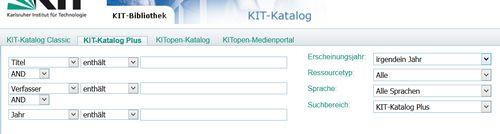 Screenshot erweiterte Suche bei Katalog KITPlus mit Feldersuche für Literaturrecherche  für MINT-Fächer