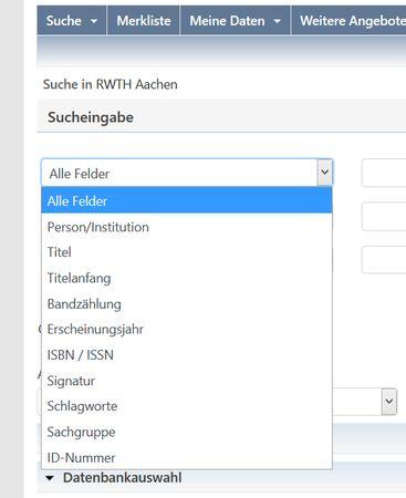 Screenshot KatalogPlus RWTH Aachen, Feldbeschriftungen für Literaturrecherche