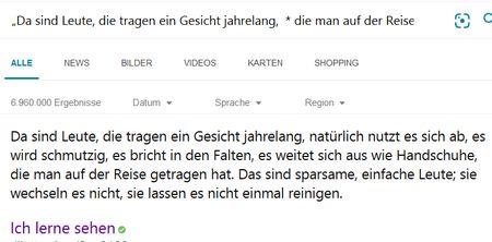 Screenshot Phrasensuche und Trunkierung bei Bing, Rilke-Text
