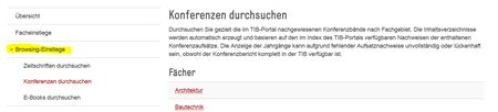 Screenshot Browsing-Einstieg bei der TIB Hannover für Literaturrecherche