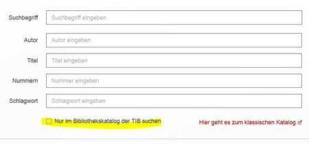Screenshot erweiterte Suche der TIB Hannover für Literaturrecherche  für MINT-Fächer