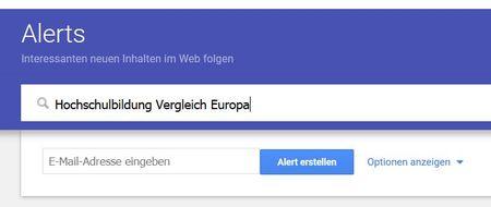Screenshot Google Alerts mit  Suchabfrage und Frage nach E-;ail und Optionen