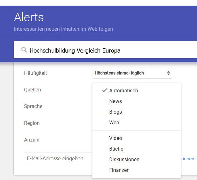 Screenshot Google Alerts mit aufgeklappten optionen