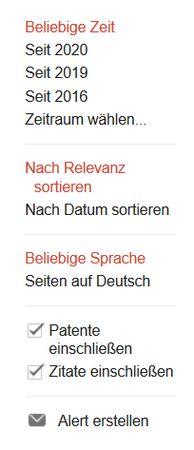 Screenshot linke Spalte Google Scholar mit den Filtermöglichkeiten Zeit, Relevanz, Sprache usw.