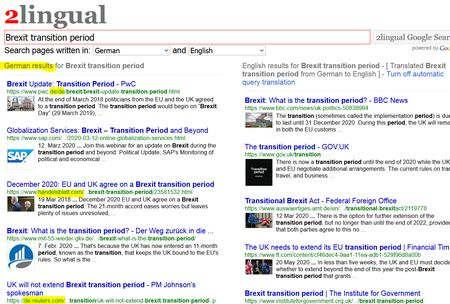 Screenshot für bilingual Brexit transition period auf Deutsch und Englisch. Zweisprachige Suche bei Google