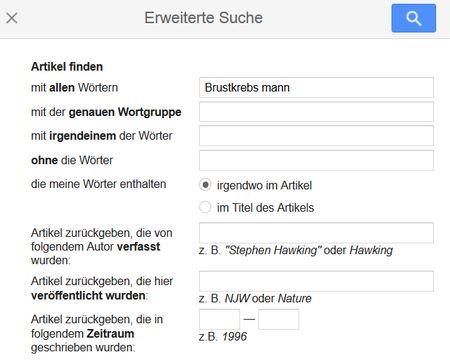 Erweiterte Suche bei Google scholar