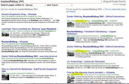 Screenshot 2lingual zweisprachige Suche ohne Übersetzungsdienst