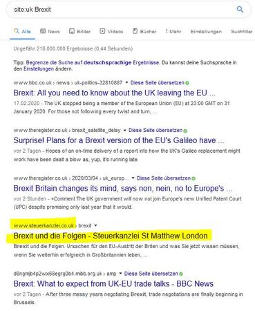 Screenshot Google Suche zu Brexit mit dem Ziel Ergebnisse aus Großbritannien zu bekommen