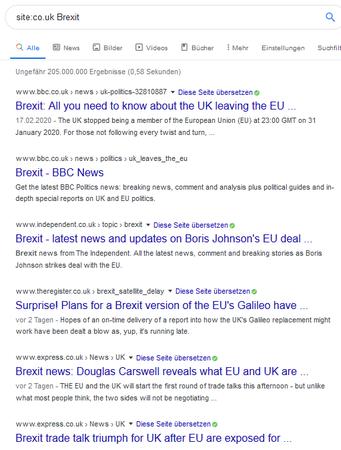 Screenshot Site-Suche Brexit mit TLD co.uk - Großbritannien ist kompliziert ...