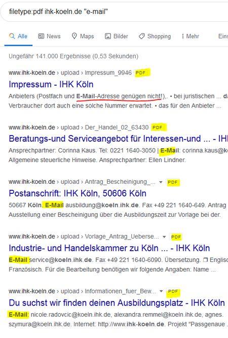 "Screenshot zum Befehl  filetype:pdf ihk-koeln.de ""e-mail"""