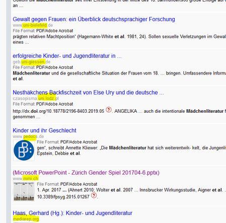 Screenshot eienr Ergebnis liste bei freefullpdf mit Quellen - idR Hochschulen