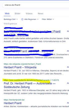 Zu Befehle und Operatoren kombinieren hier ein Screenshot mit -site:sz.de Prantl
