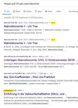Screenshot zur Such filetype:(ppt OR pdf) makroökonomie