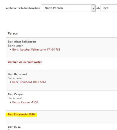 Screenshot Suche nach Namensindex bei der Caritas-Bibliothek freiburg