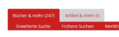 Screenhshot zu Reite Aufsätze und mehr mit Ausrufezeichen statt Anzahl der Treffer Caritas-Bibliothek