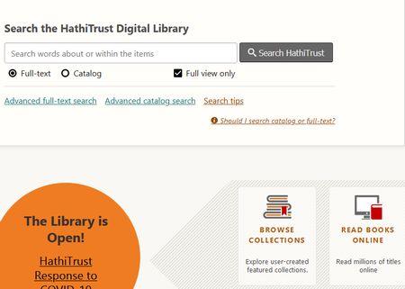 Die Startseite von Hathi Trust mit den verschiedenen Optionen, u. a. Full-text  also Volltexte durchsuchen