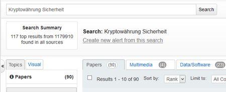 Screenshot Worldwidescience Suche mit  Kryptowährung und Sicherheit - Hinweise auf Anzahl der Treffer