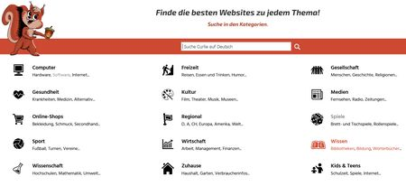 Screenshot Curlie Deutsch Startseite Kategorien