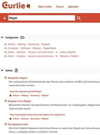 Screenshot Curlie Erste Ebene Kategorien wenn ich über die Suchzeile gehe. Beispiel: Plagiat