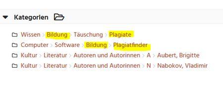 Screenshot Kategorien für Plagiat bei Curlie