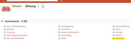 """Screenshot Curlie Eben Bildung unter Wissen - dort """"Täuschung"""" markiert"""