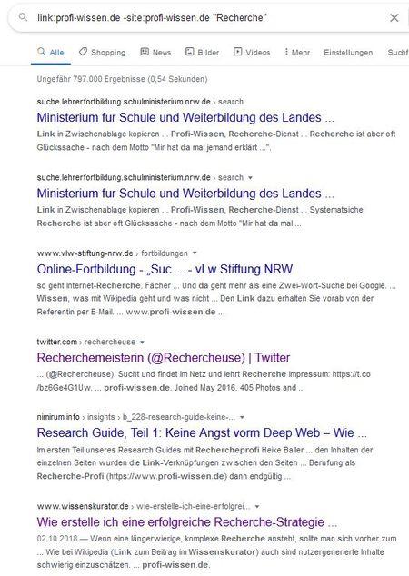 "Screenshot der Suche link:profi-wissen.de -site:profi-wissen.de ""Recherche"""