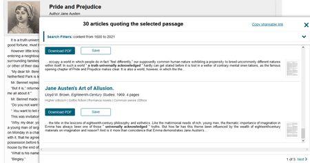 Screenshot mit den errsten Artikeln, die den ersten Satz bei Jane Austens Pride and Prejudice als Thema haben
