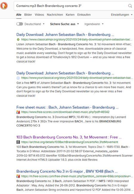 Screenshot nach der Suche Contains:mp3 Bach Brandenburg concerto 3 bei DuckDuckGo - trefffer u. a. aus dem Internet Archive