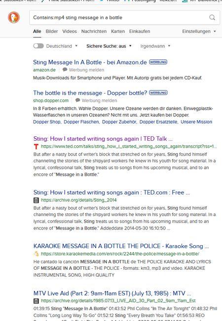 Screenshot nach der Suche contains:mp4 Sting message in a bottle beid er Suchmaschien DuckDuckGo
