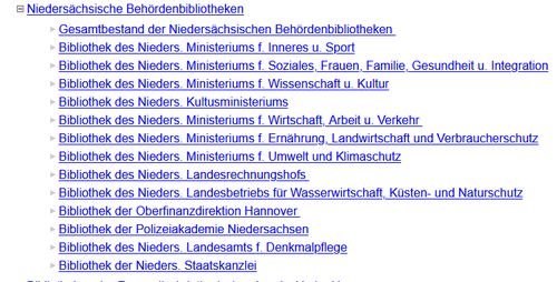 Screenshot Katalogauswahl HOBSY Behördenbibliotheken