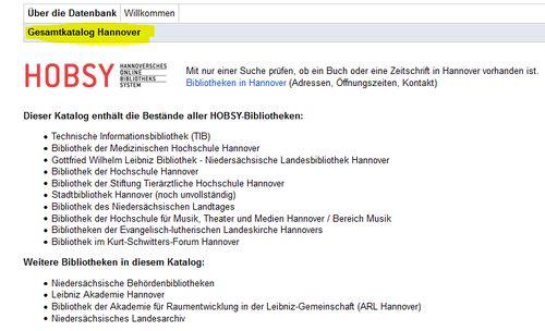 Screenshot Startseite Gesamtkatalog Hannover; es werden alle Bibliotheken aufgezählt.