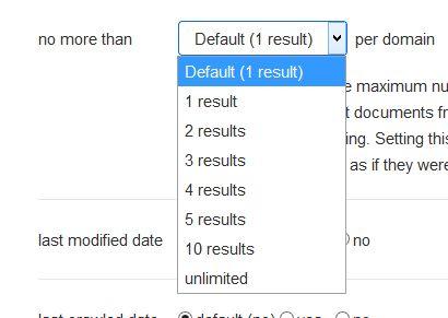 """Screenshot mit der Option unter """"Einstellungen"""" die Anzahl der Treffer pro Domain zu ändern"""