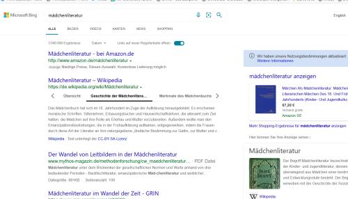 """Screenshot der Suche """"Mädchenliteratur"""" bei Bing - mit viel Werbung"""