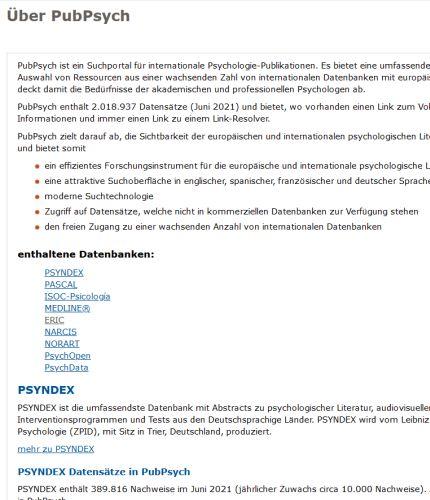 """Screenshot von PubPsych """"Über"""" mit Liste der Datenbanken"""