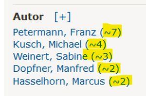Die Namen von Autor_innen mit der ungefähren Anzahl der Publikationen in dieser Trefferliste
