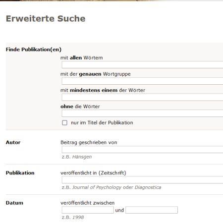 Suchoptionen der erweiterten Suche bei PubPsych