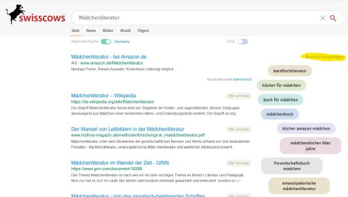 """Sceenshot Trefferliste Swisscows mit Felder - pastellige Farben - unter """"Ähnliche Suchanfragen"""""""
