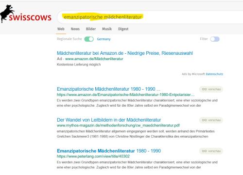 Screenhsot Trefferliste Swisscows ohne diese Felder im oberen Bild