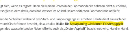 Screenshot, nur Text, in dem Flüsterasphalt auch als Drain asphalt bezeichnet wird, weil er Aquaplaning verhindert