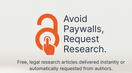 Screenshot mit Text:  Avoid Paywalls, Request Research. Free, legal research articles delivered instantly or automatically requested from authors.