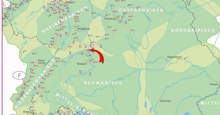 Landkarte mit Bezeichnungen von Weinabaugebieten, grüngrundig, mit roten Punkten udn Nummern, un einem roten Pfeil.