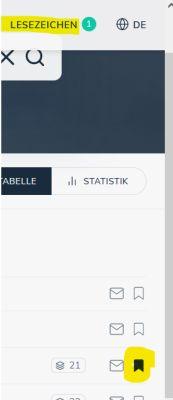 """Screenshot von opencat mit angeklicktem Lesezeichensymbol (kleine Fahne) und der Ziffer 1 in der Kopfzeile bei """"Lesezeichen""""."""