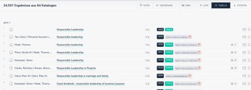 Treffer bei opencat als Tabelle - mehr Titel im Screenshot, die Infos sind in eienr Zeiel angeordnet